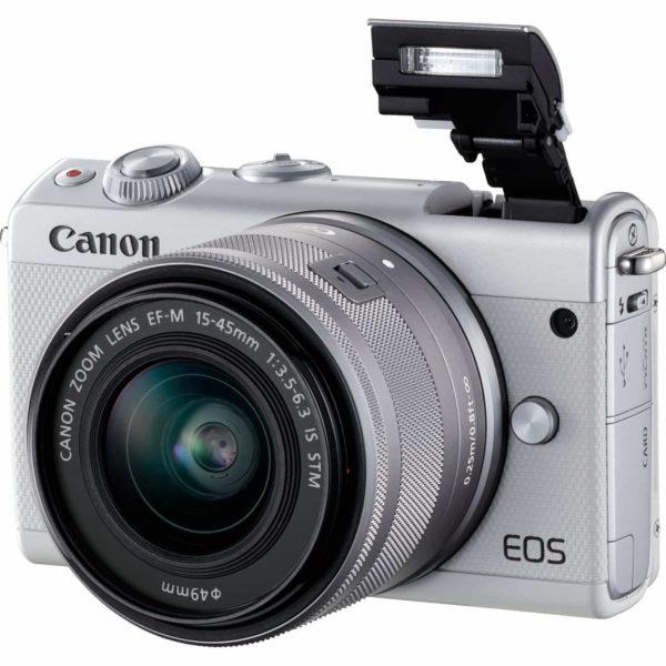 swiss pro camara canon eos m100 blanco objetivo ef m 15 45 mm f35 63 is stm plata 50 gb en irista 6