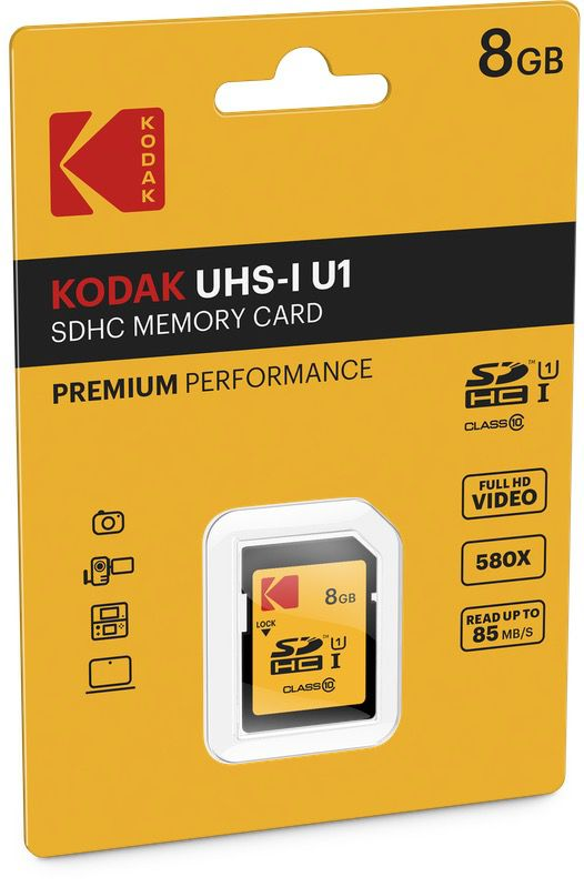 kodak premium sdhc10 uhs1 u1 cardboard 8gb