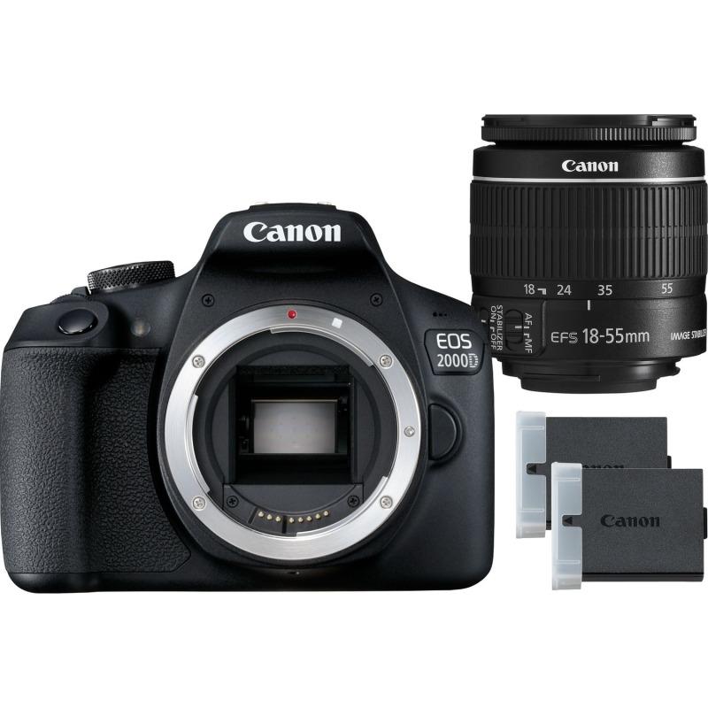 swiss pro camara canon eos 2000d objetivo ef s 18 55mm is ii lens bateria lp e10 1