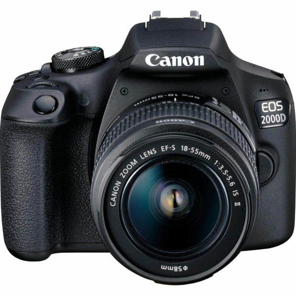 swiss pro camara canon eos 2000d objetivo ef s 18 55mm is ii lens bateria lp e10 2