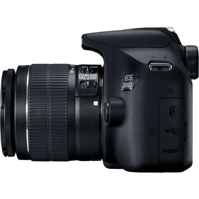 swiss pro camara canon eos 2000d objetivo ef s 18 55mm is ii lens bateria lp e10 4