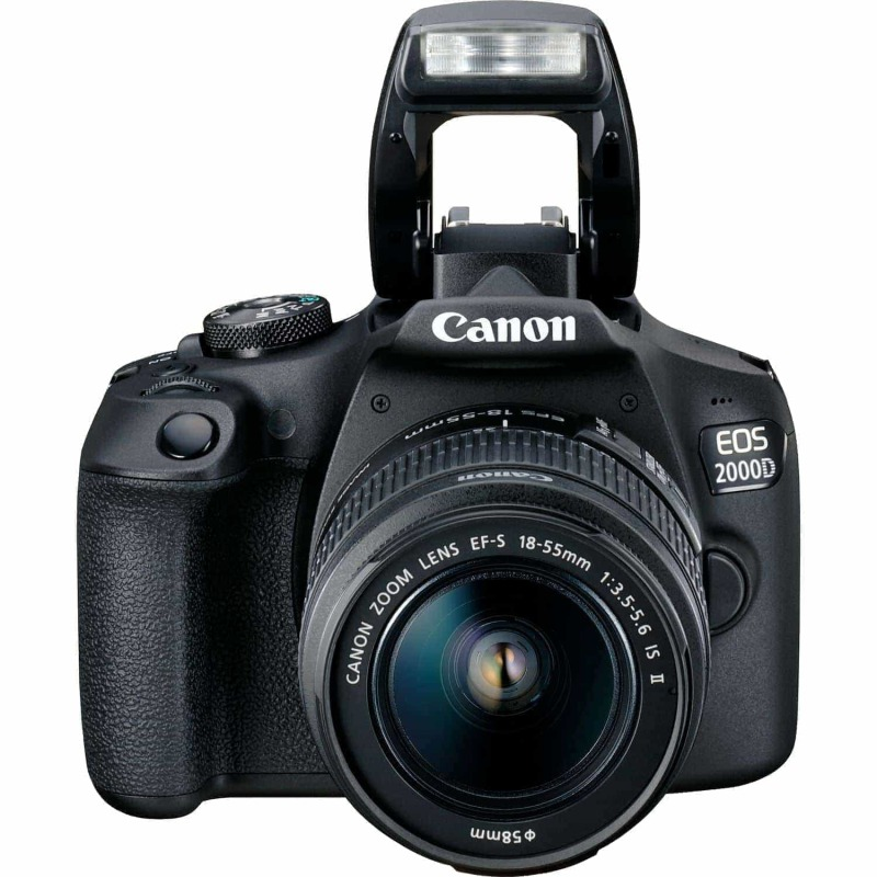 swiss pro camara canon eos 2000d objetivo ef s 18 55mm is ii lens bateria lp e10 6