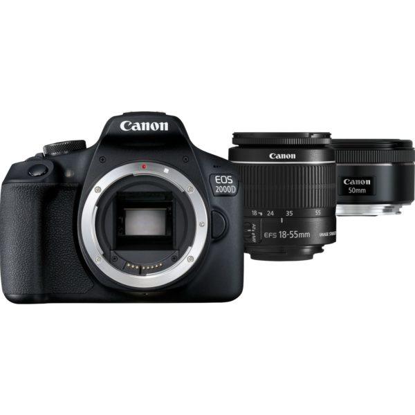 swiss pro camara canon eos 2000d objetivo ef s 18 55mm is ii objetivo 50mm stm lens
