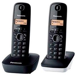 swiss pro telefono inalambrico panasonic tg1612 duo blanco y negro