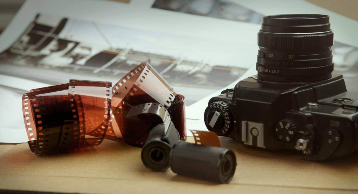 Photographic film rolls, cassettes and camera . Analog film stri
