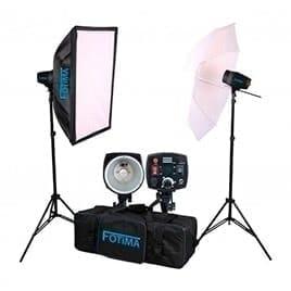 swiss pro iluminacion fotima kit flash estudio pro 2x180w ftf 180 bowens