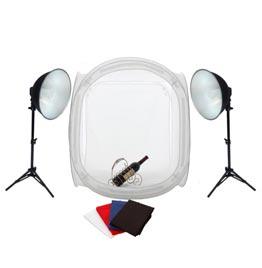 swiss pro iluminacion fotima kit mini estudio 60x60 2 focos de 35w