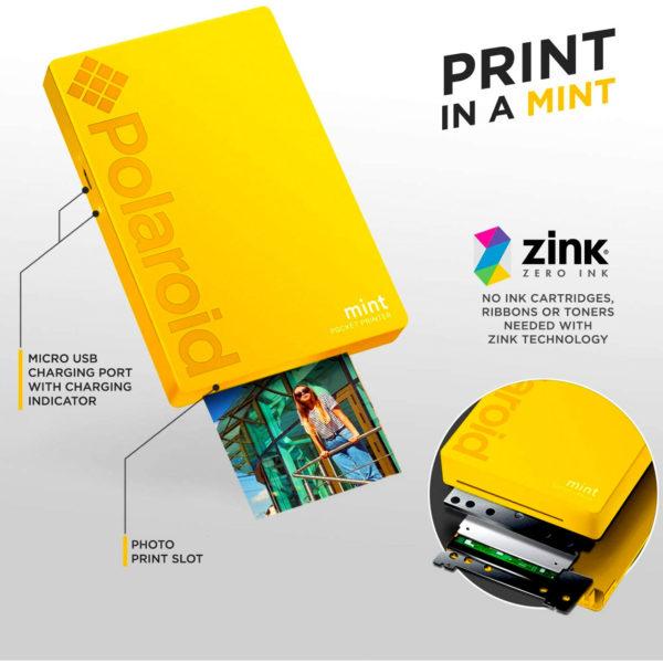 swisspro impresora polaroid mint mobile amarilla incluye papel pack 10 fotos 0003 840102198676