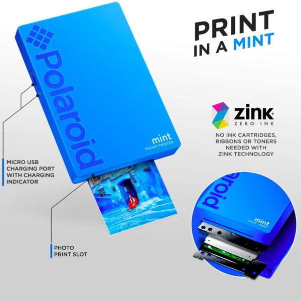 swisspro impresora polaroid mint mobile azul incluye papel pack 10 fotos 0002 840102198669