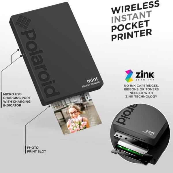 swisspro impresora polaroid mint mobile negra incluye papel pack 10 fotos 0003 840102198652
