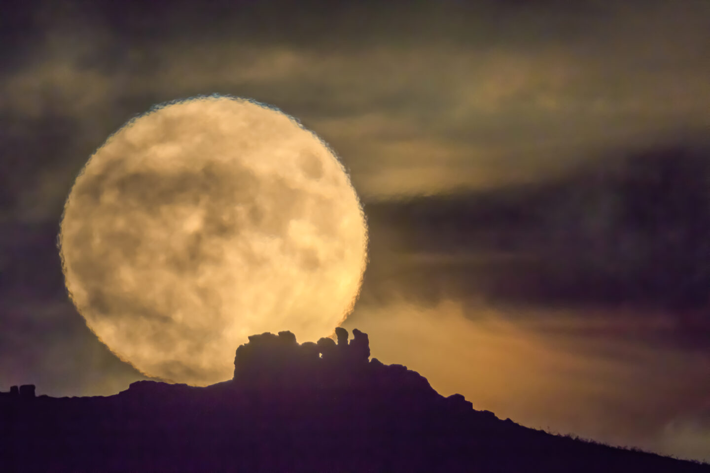 Supermoon over Three Fingers Rock, Caer Caradoc, Shropshire, UK (The Times cover photo)
