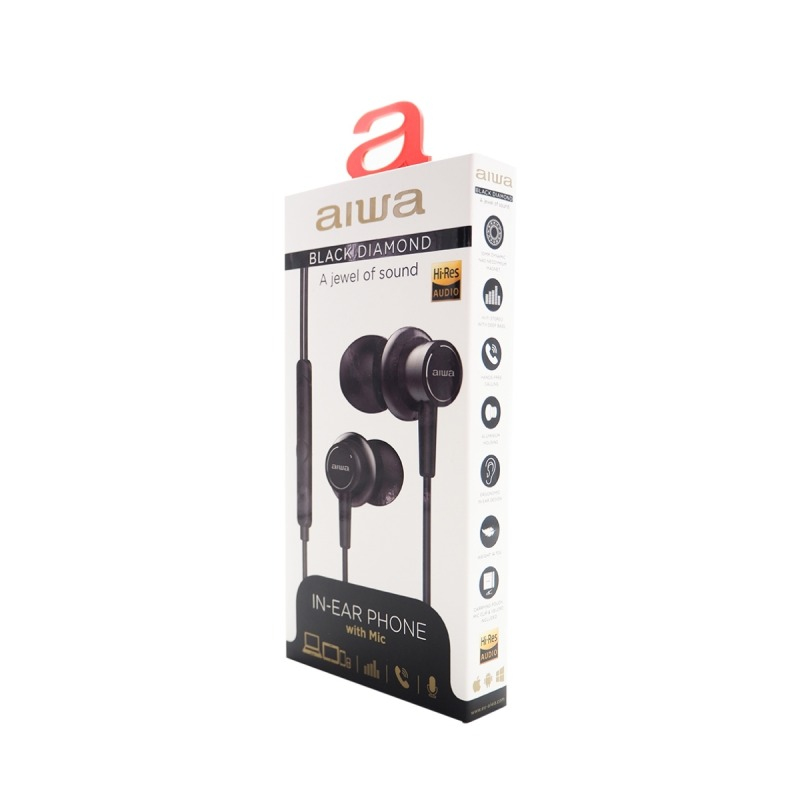 swisspro auricular aiwa estm 500bk negro 10hz 40khz cable 12 mts microfono 4