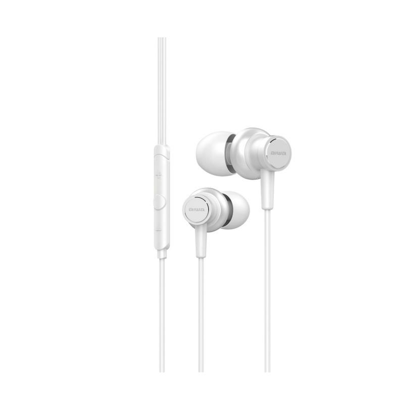swisspro auricular aiwa estm 500wt blanco 10hz 40khz cable 12 mts microfono