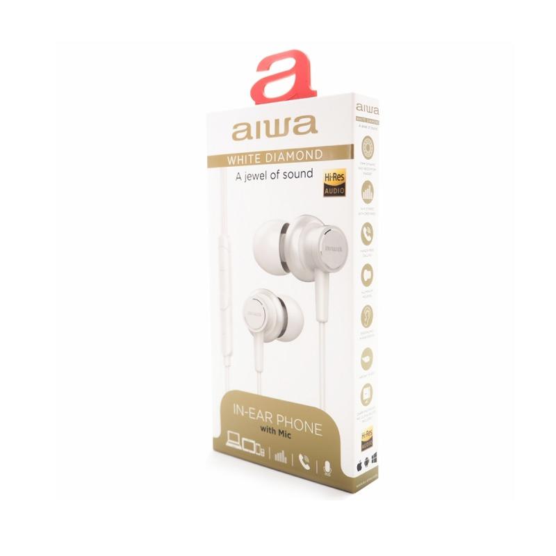 swisspro auricular aiwa estm 500wt blanco 10hz 40khz cable 12 mts microfono 5