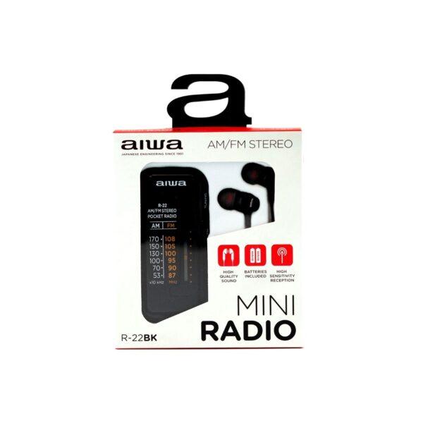 swisspro radio de bolsillo aiwa r 22bk con auriculares am fm negra 1