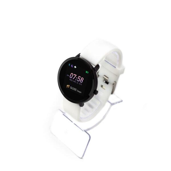 swisspro smart watch swissgo arosa esfera negra correa blanca