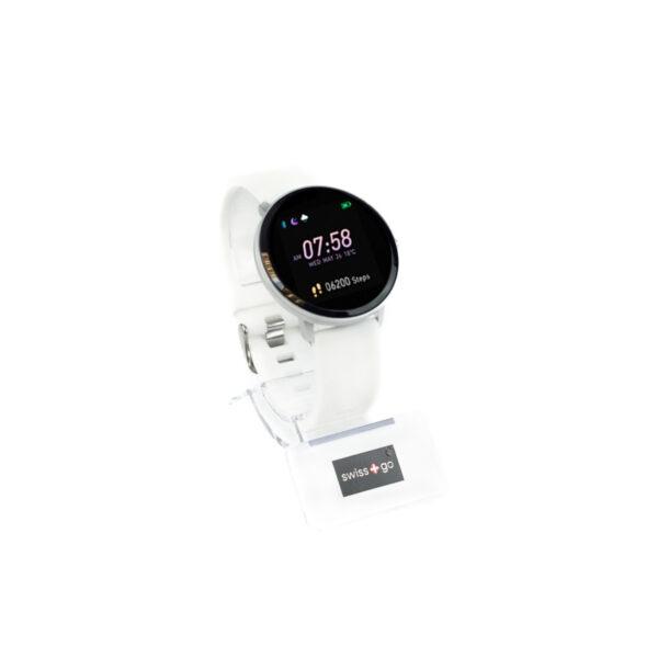 swisspro smart watch swissgo arosa esfera plata correa blanca 1