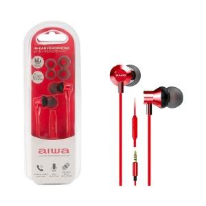 swisspro auricular in ear con microfono aiwa estm 50bk rojo