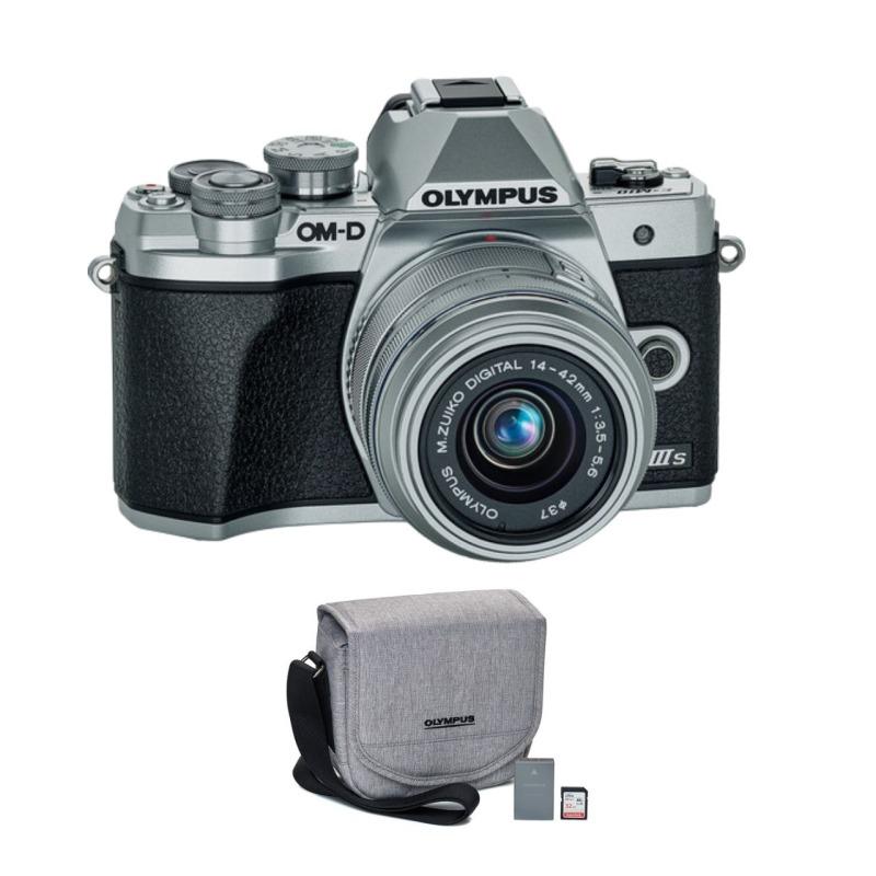 Cámara Evil Olympus OM-D E-M10 Mark III Plata + objetivo 14-42mm II R Plata Kit Funda + SD 16Gb