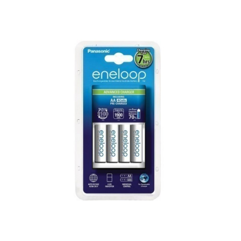 Cargador Panasonic Eneloop Básico + 4 Pilas AA 1900mAh