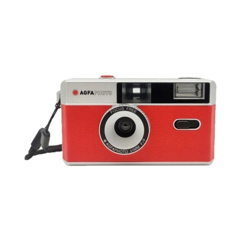 camara compacta analogica agfa 35 mm roja bolsa 1
