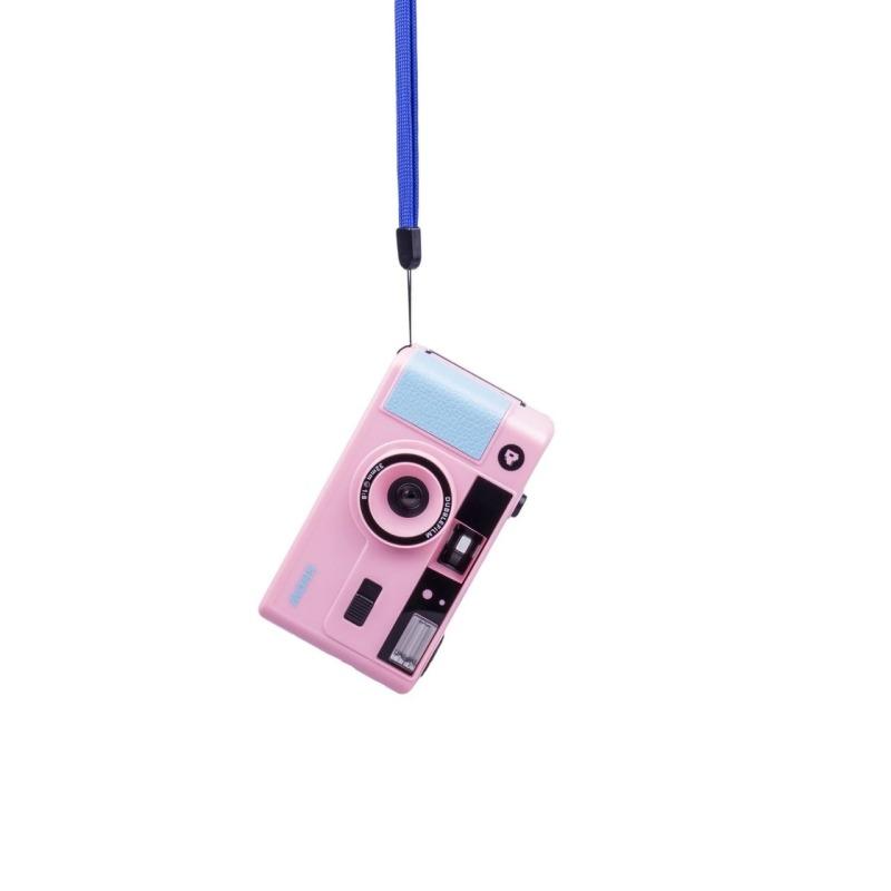 dubblefilm camara compacta analogica 35 mm show bolsa y correa rosa 1