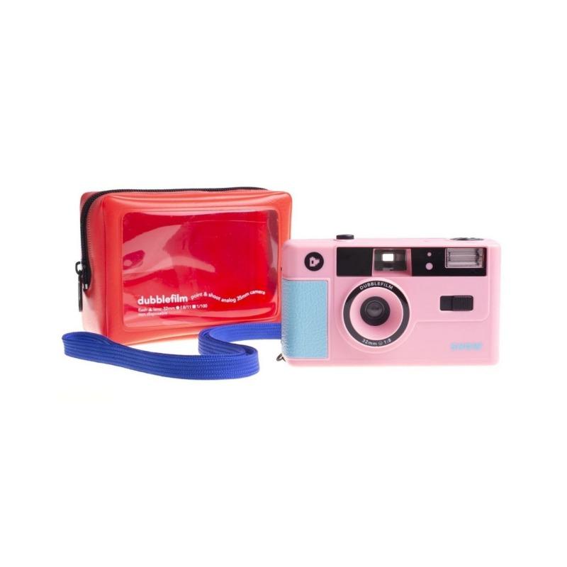 dubblefilm camara compacta analogica 35 mm show bolsa y correa rosa 2
